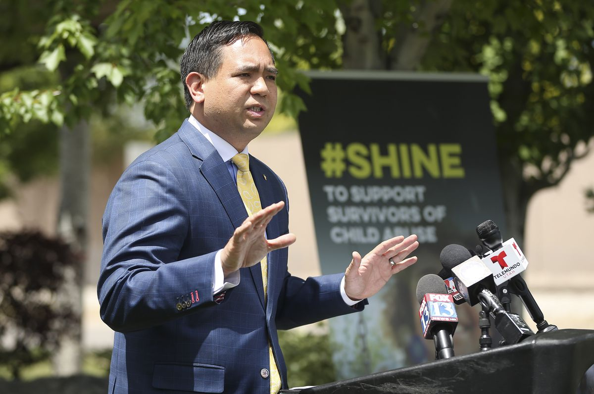 Utah Attorney General Sean D. Reyes helps launch a campaign dedicated to empowering and helping child abuse survivors during a press conference at the Children's Justice Center in West Jordan on Wednesday, May 27, 2020. The campaign aims to highlight the needs of child abuse victims, ways individuals can help children during the COVID-19 pandemic, and the network of support available to survivors.
