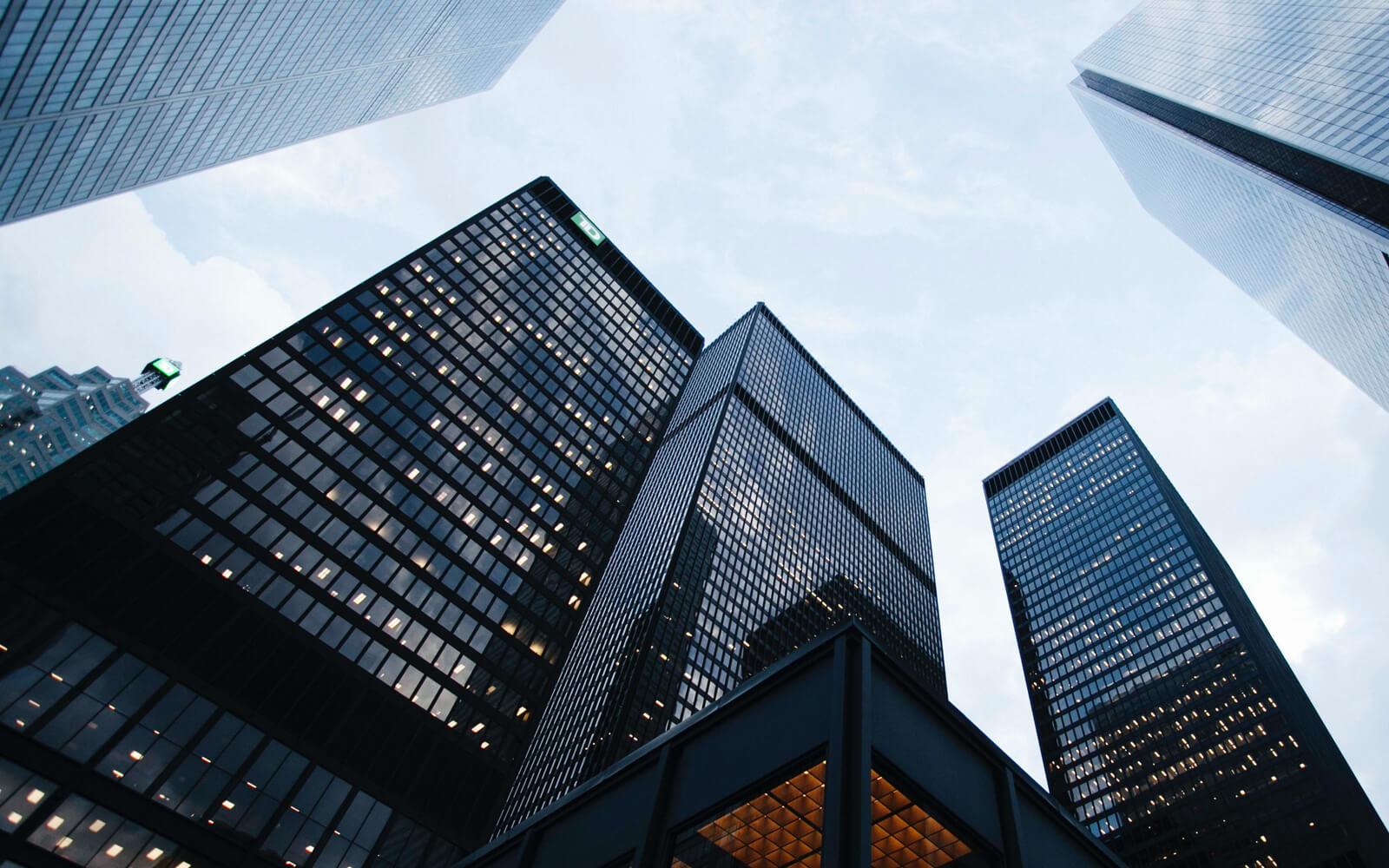 City skyline of high-rise buildings