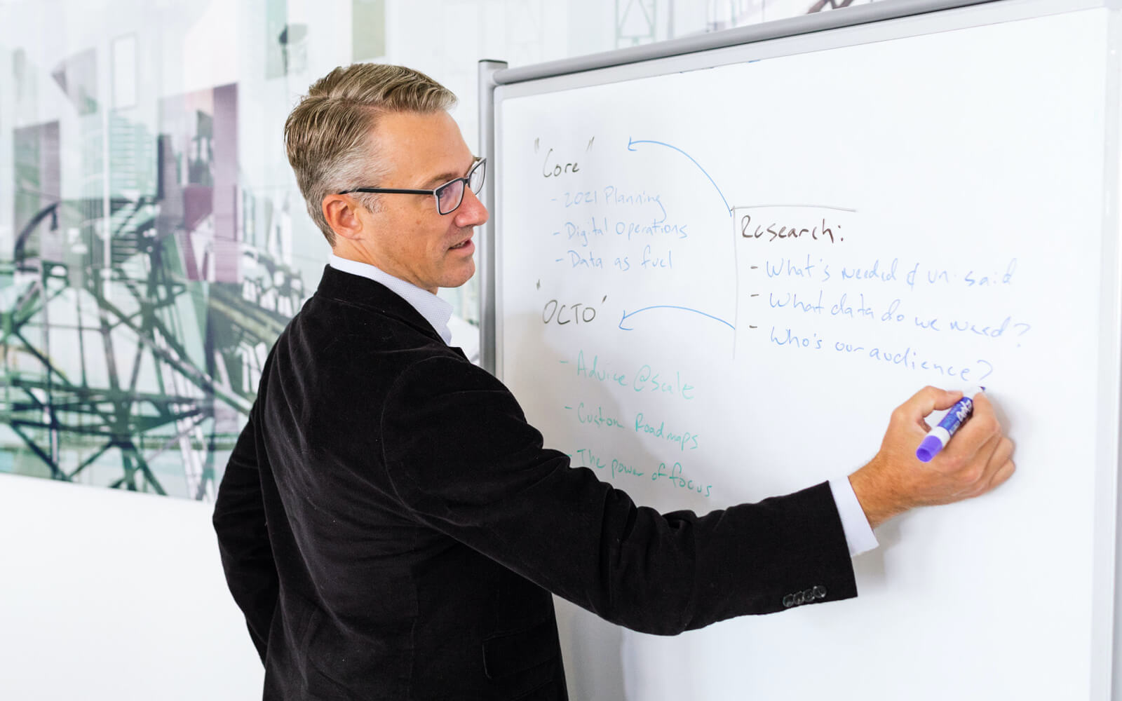 A man writing notes on a whiteboard