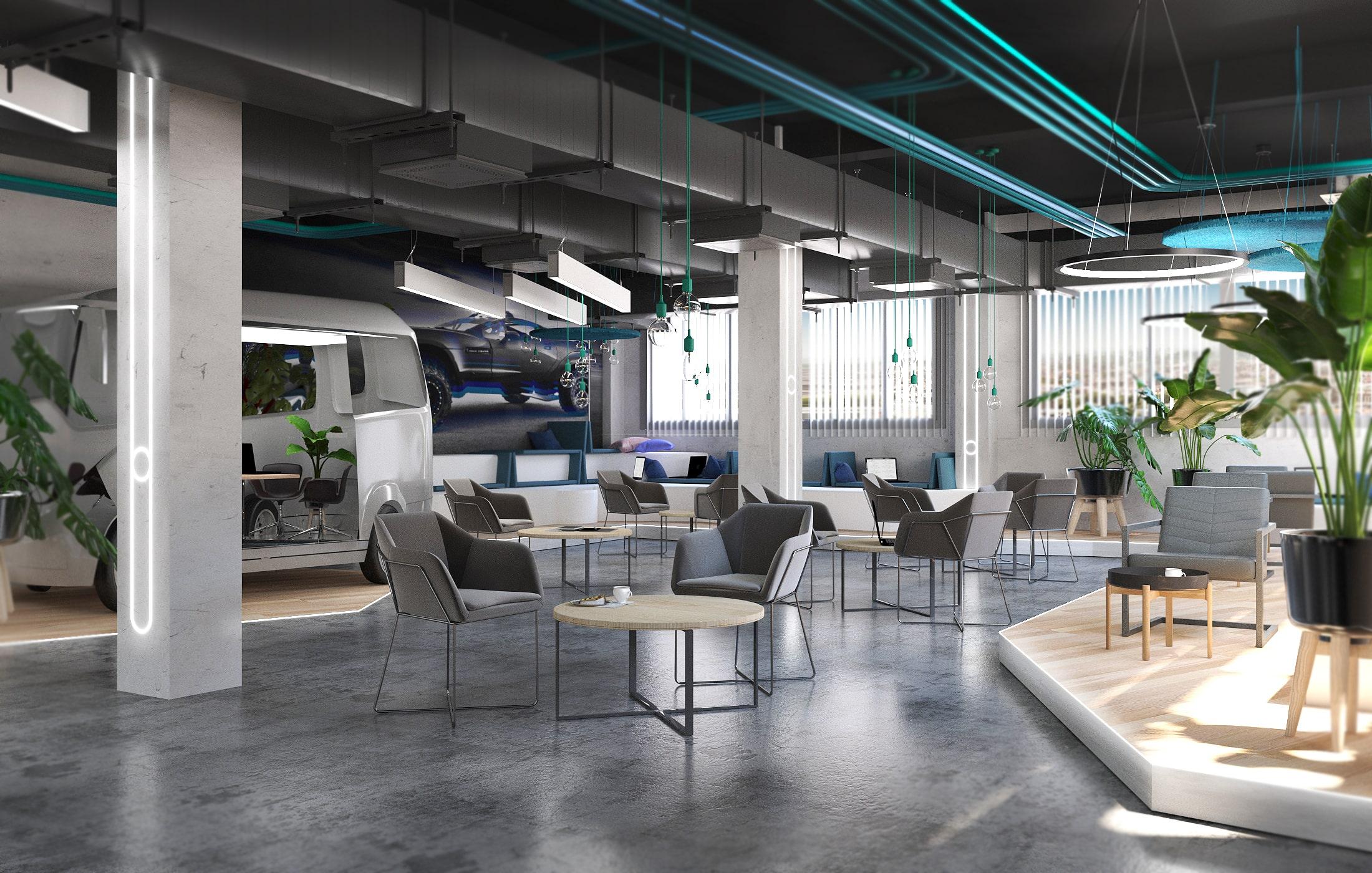 Office Design- Entwurf von Airbus München
