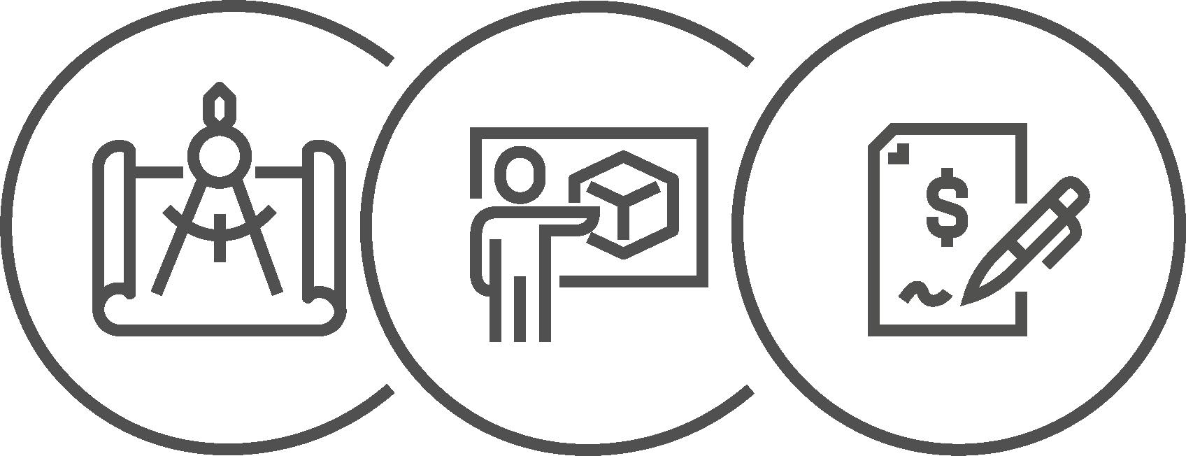 Icons zu Planung, Visualierung und Kostenabschätzung