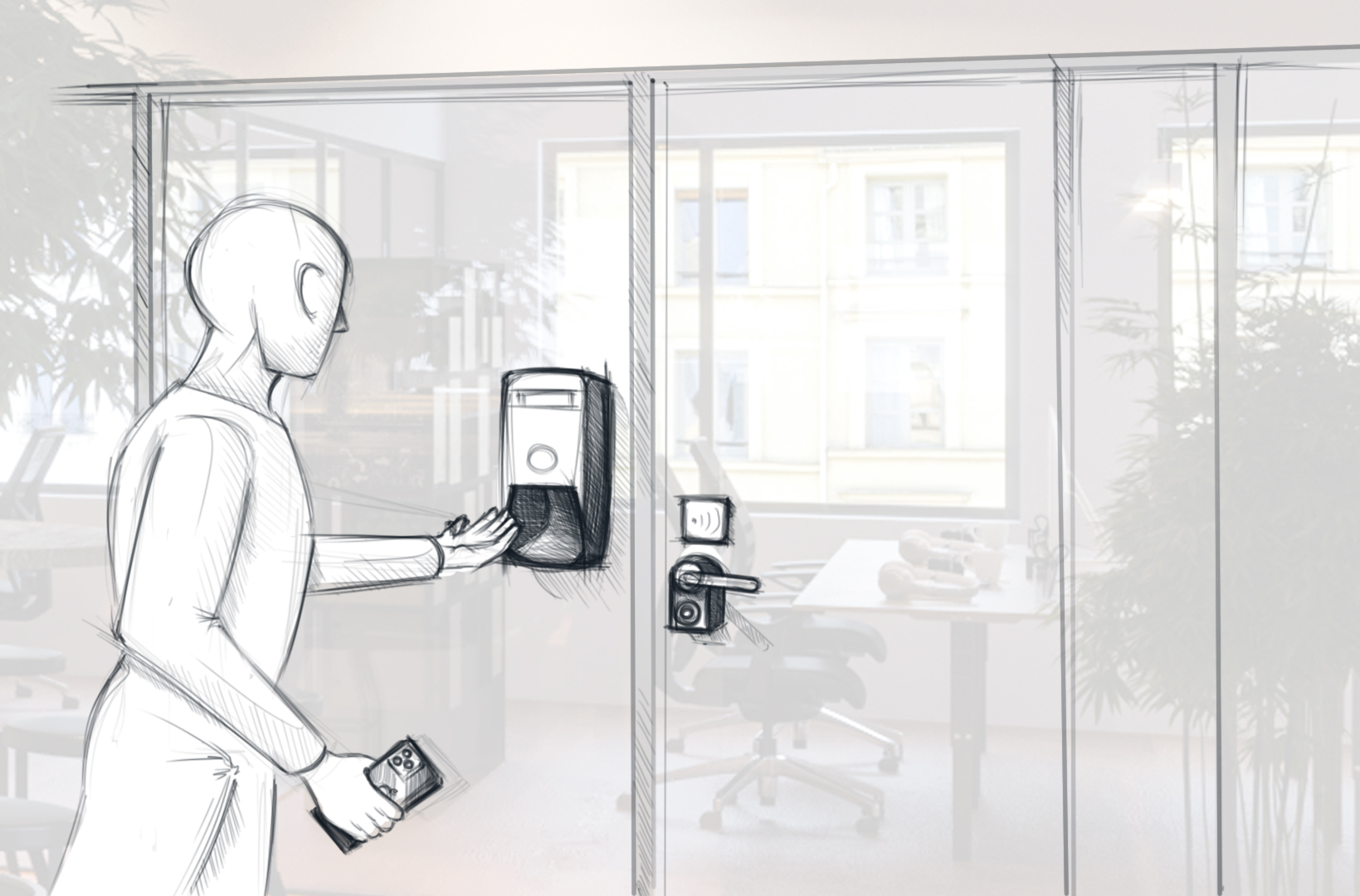 Skizze: Mann, der Hände vor Tür desinfeziert