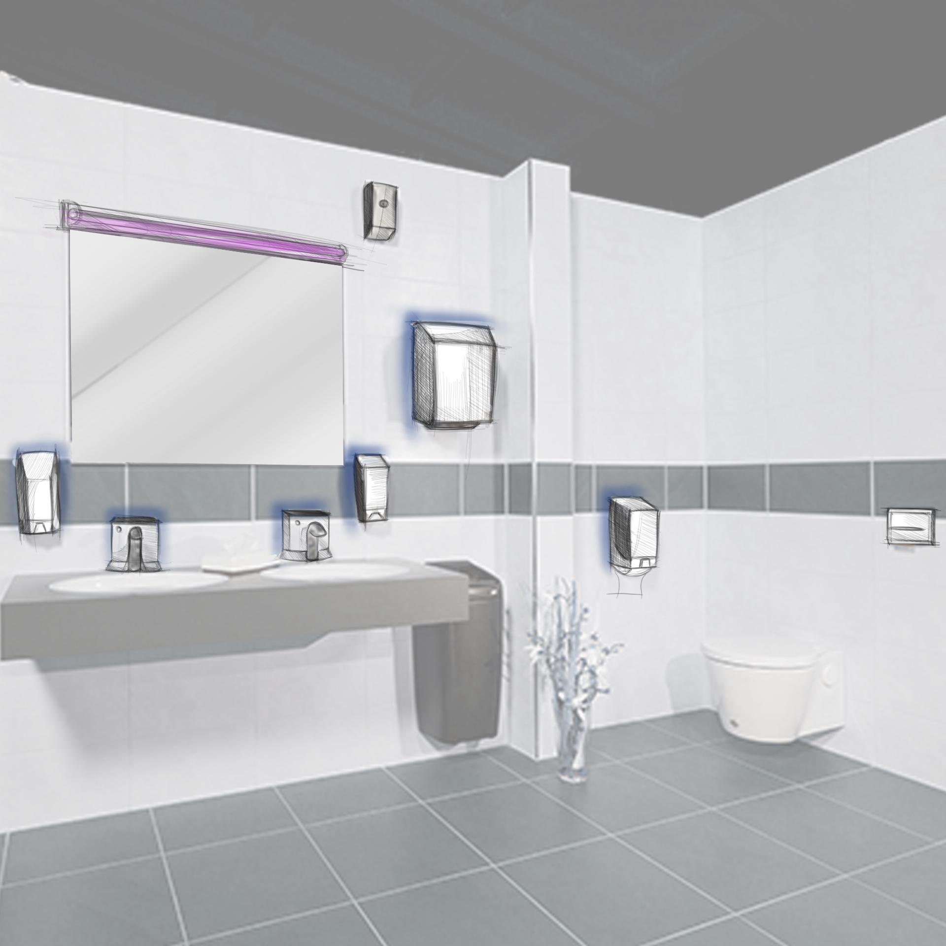 Sanitärraum mit Touchsensoren