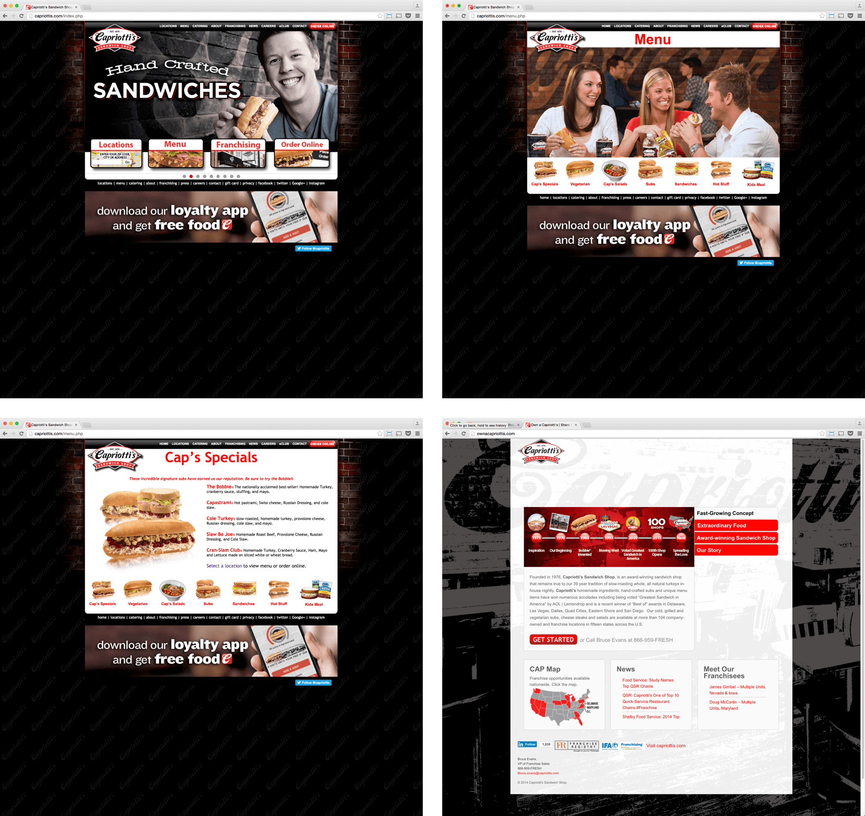 Screenshots of the old Capriotti's websites.