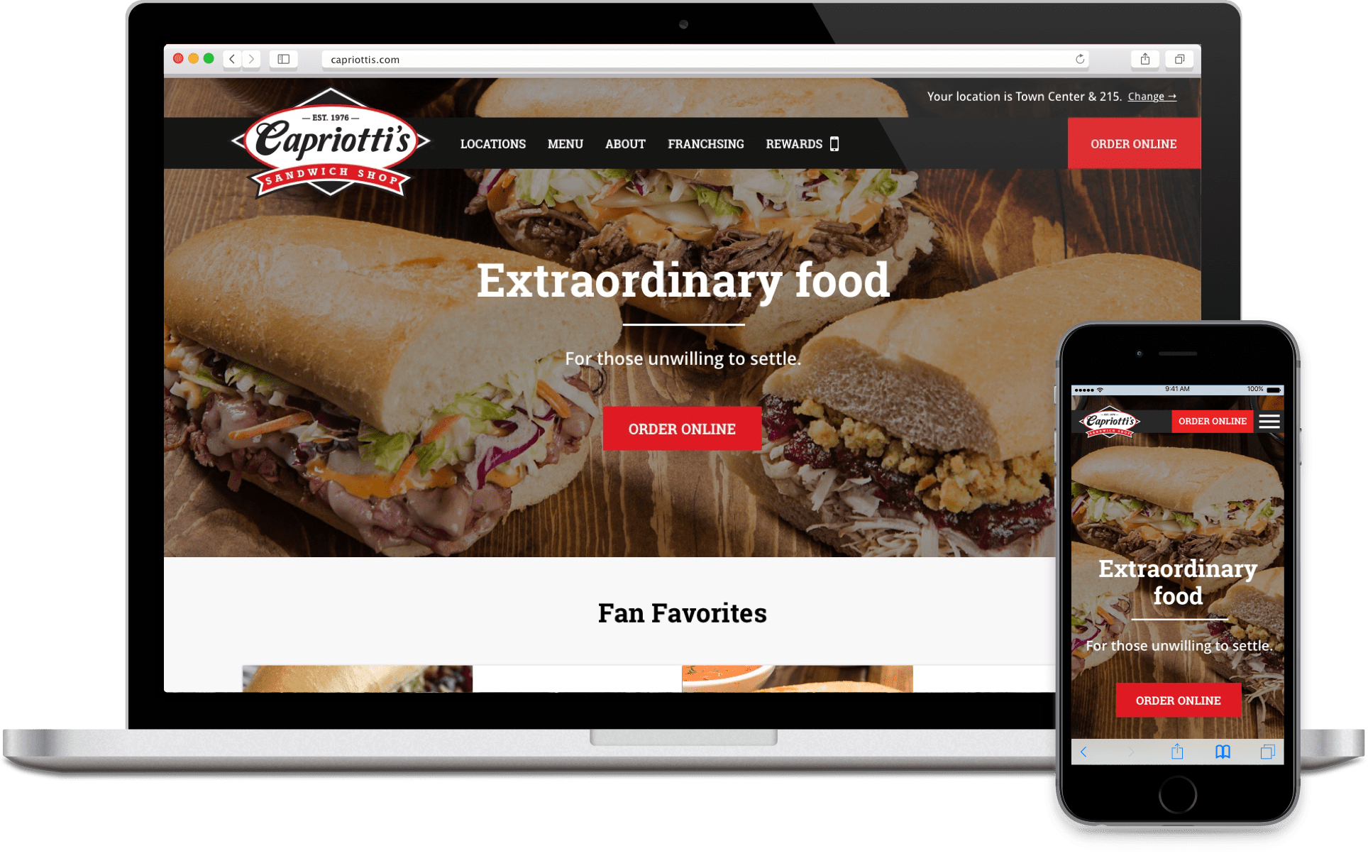 Responsive mockups of the Capriotti's homepage