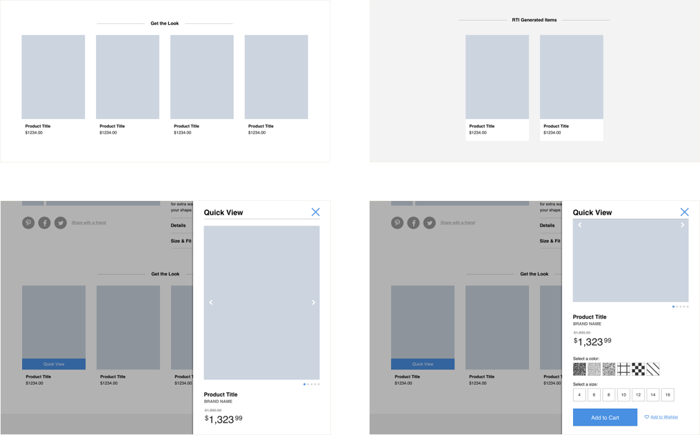 Wireframes of the two upsell modules side by side.