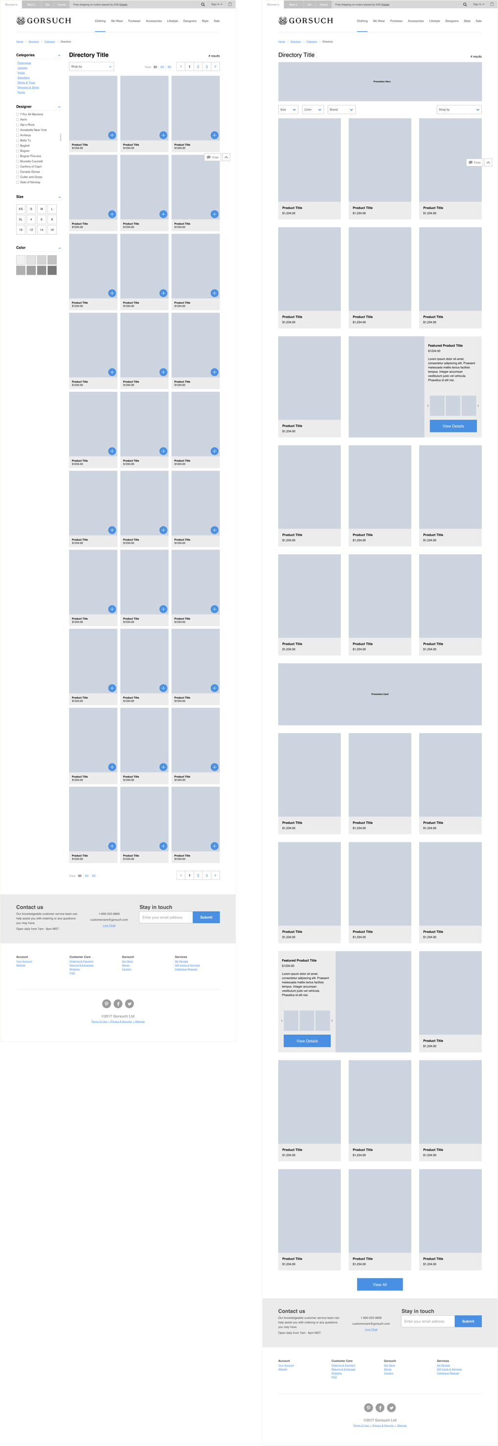 Wireframes showing the layout differences between the first and last iteration of the product directory page.