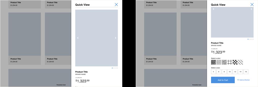 Quickview modal on desktop