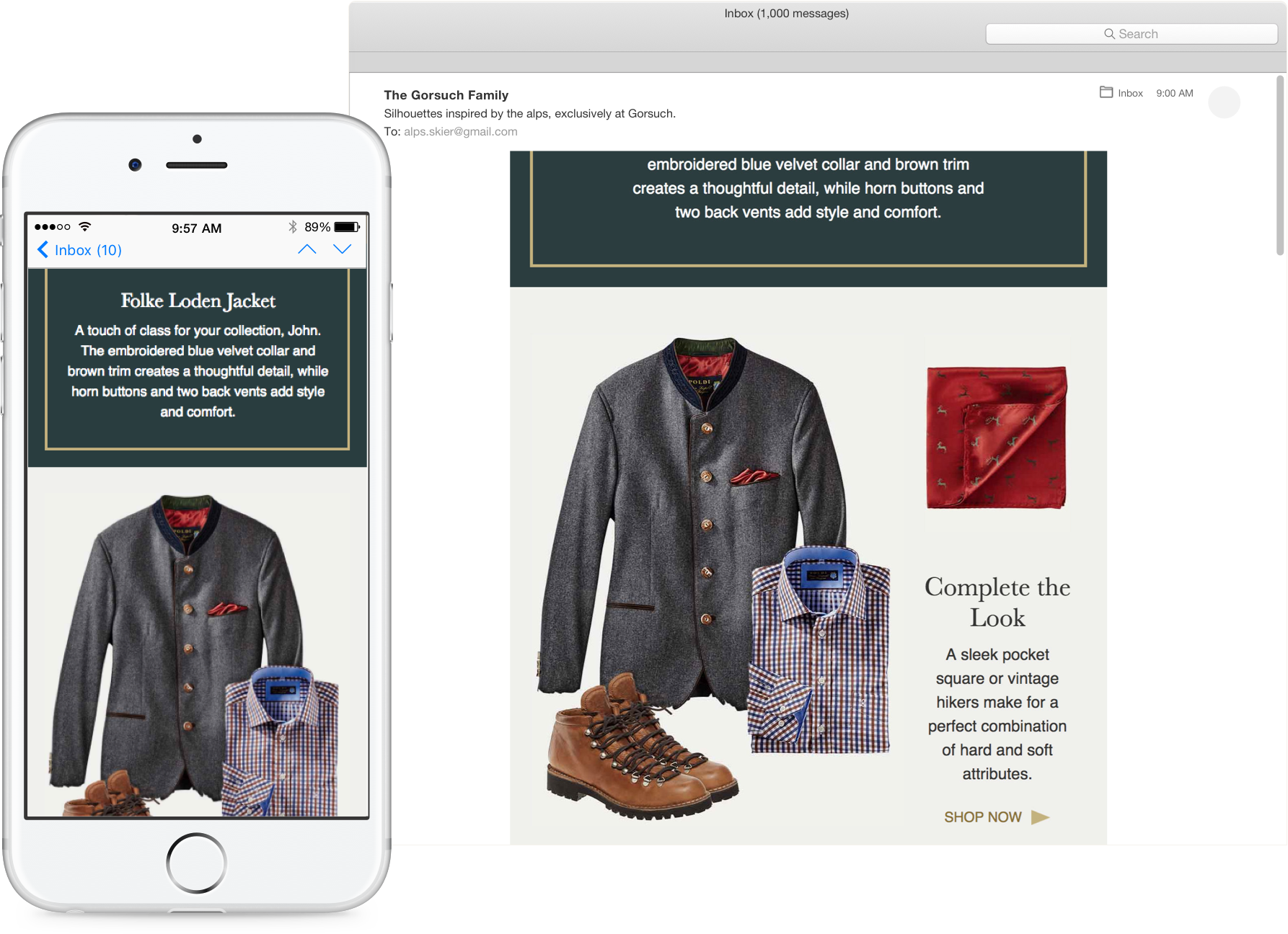 A mockup of a campaign shown on both mobile and desktop.