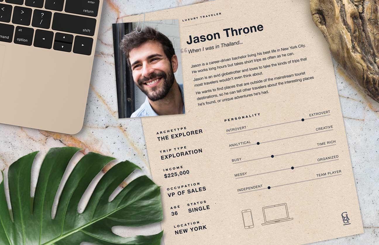 Poster describing Jason, the Explorer archetype, showing his work laptop.