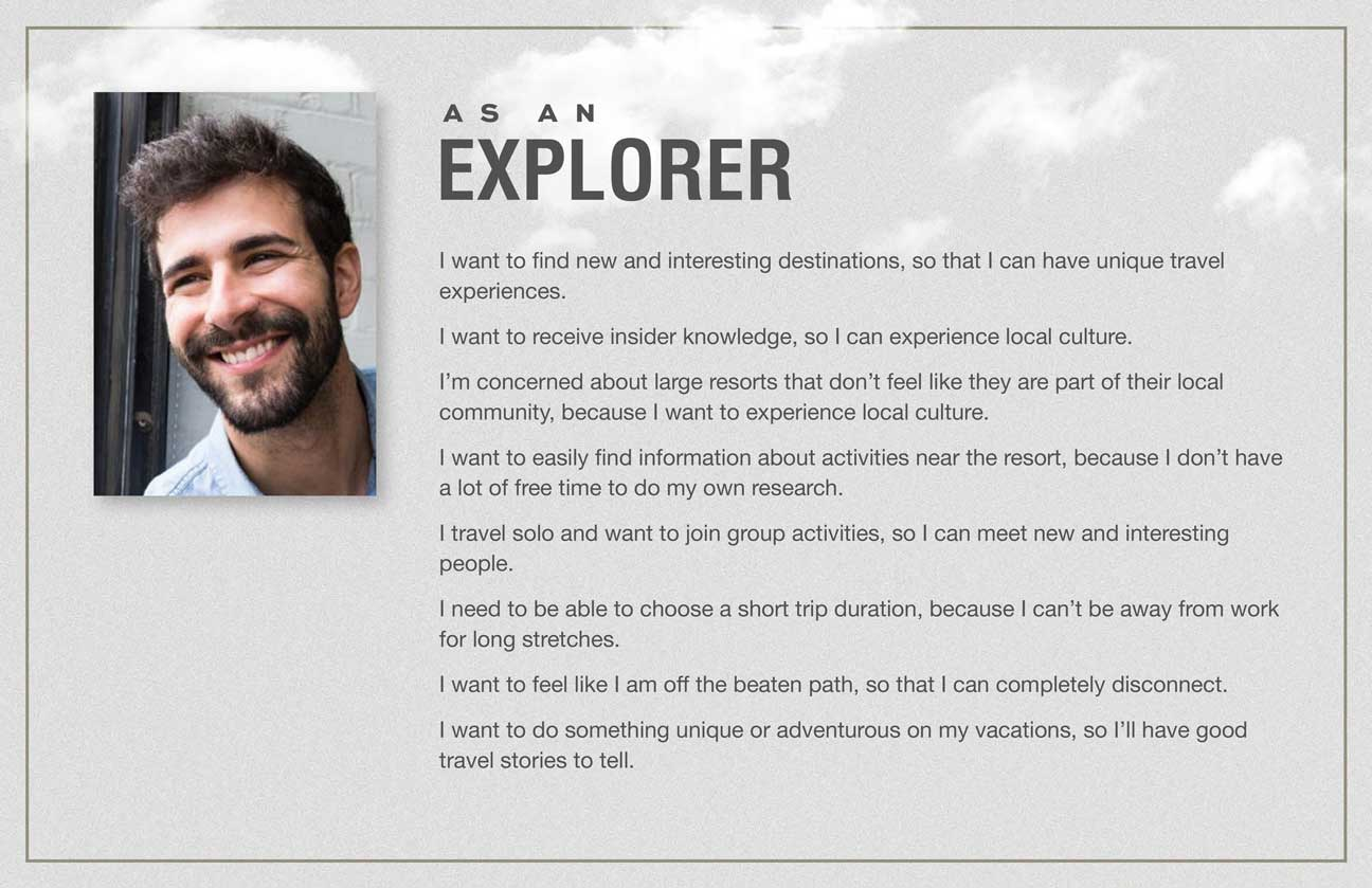 User stories for the Explorer archetype.