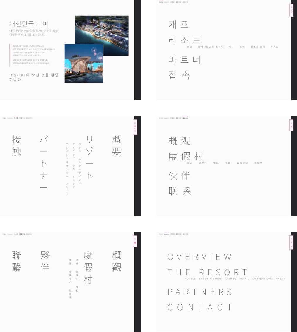Examples of the menu layout  in 5 languages.