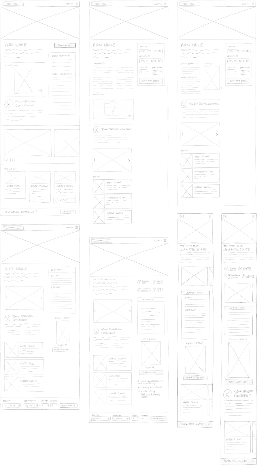 Multiple iterations of a room page layout, as pencil sketches..