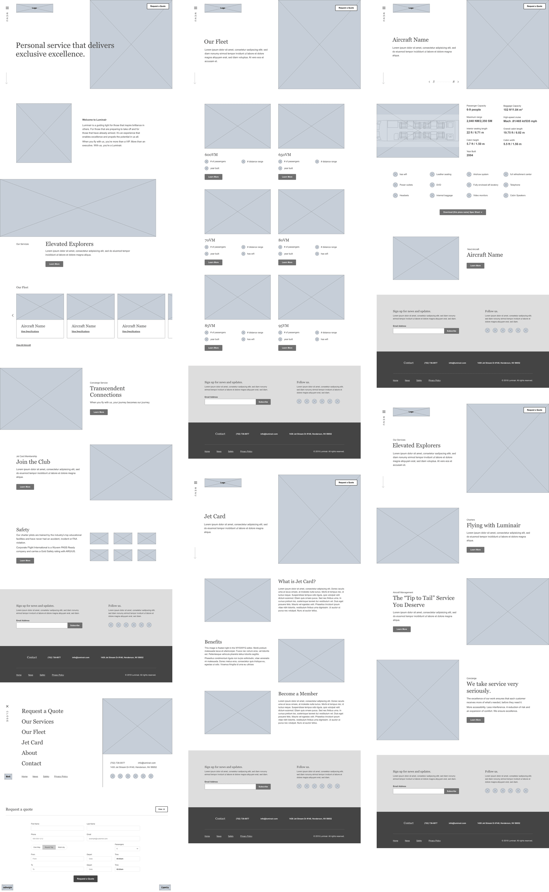 High fidelity desktop wireframes