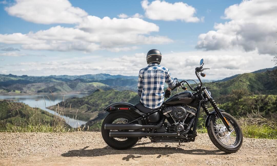 Motorradfahrer, Motorrad und Landschaft