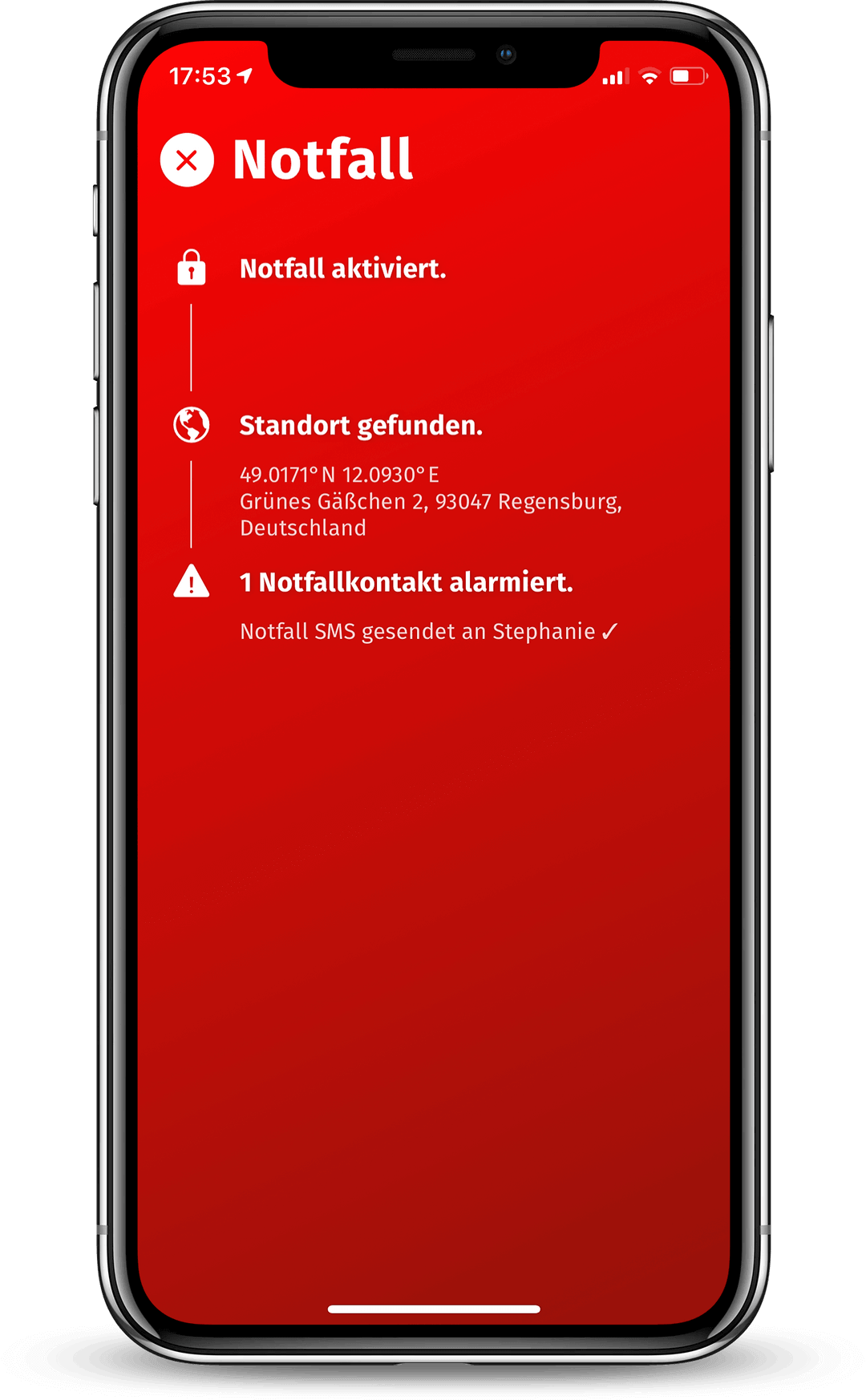 Screenshot Notfall