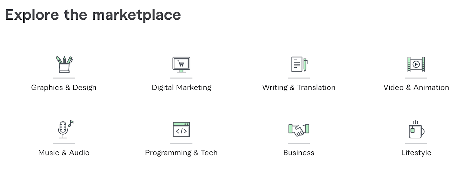What type of work is available for each freelance marketplace?