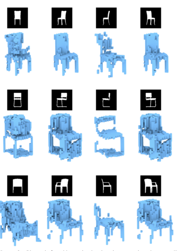 Example of Three-Dimensional Reconstructions of a Chair from Two-Dimensional Images