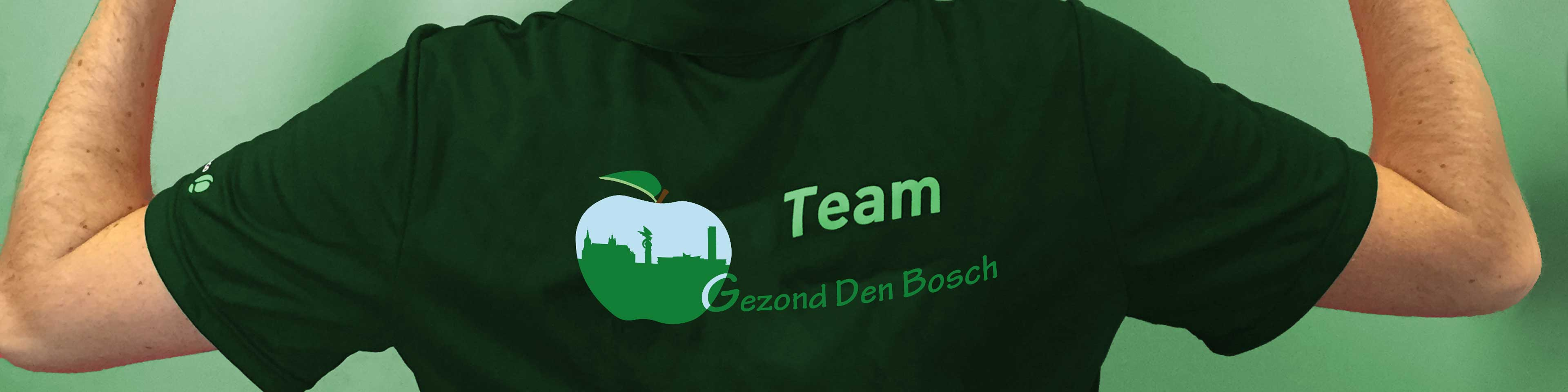 banner pagina team Gezond Den Bosch, weergave persoon met shirt met logo gezond Den Bosch