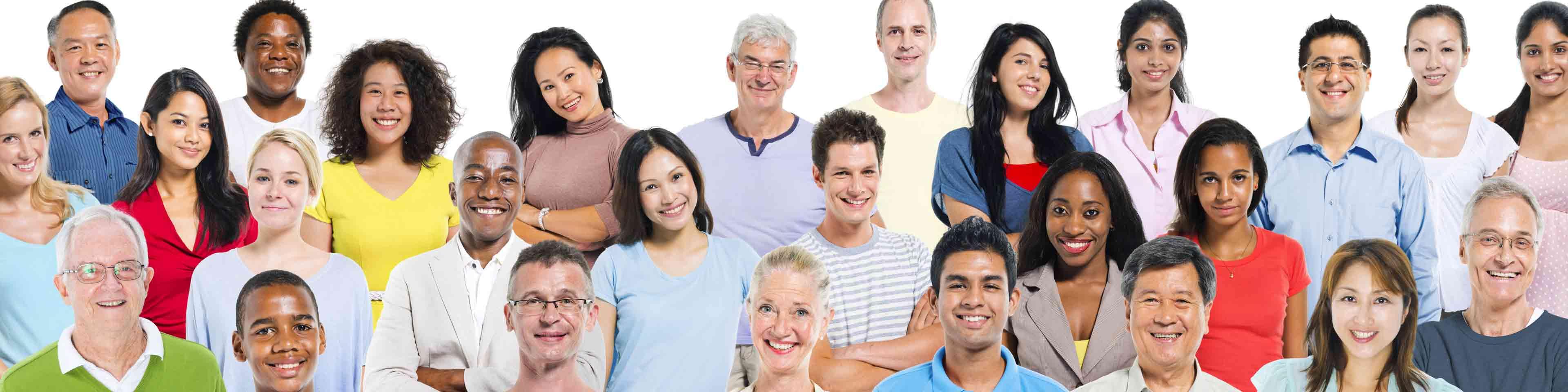 hero image, afgebeeld: grote gezellige groep mensen, diverse afkomst