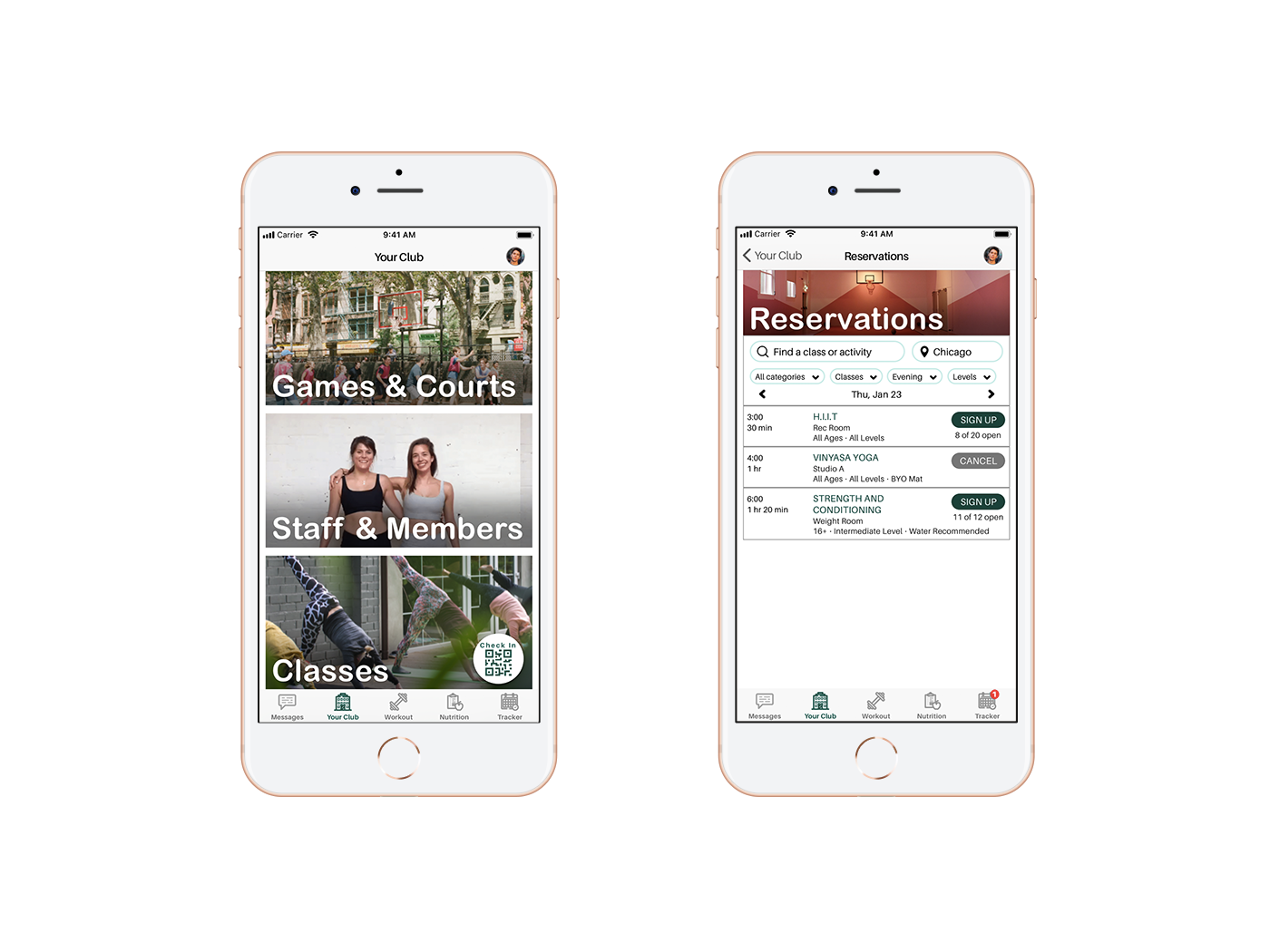 Two screens on iphones, the first is a menu of user functionalities at a gym, the second a gym class reservation module