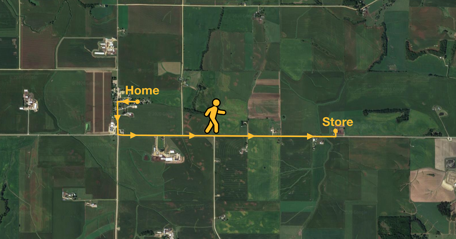 """A arial view map with a route from """"home"""" to """"store"""" with a stick man walking along it."""