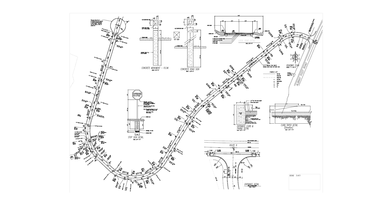 An engineering road drawing showing different types of road supports and sign arrangments.