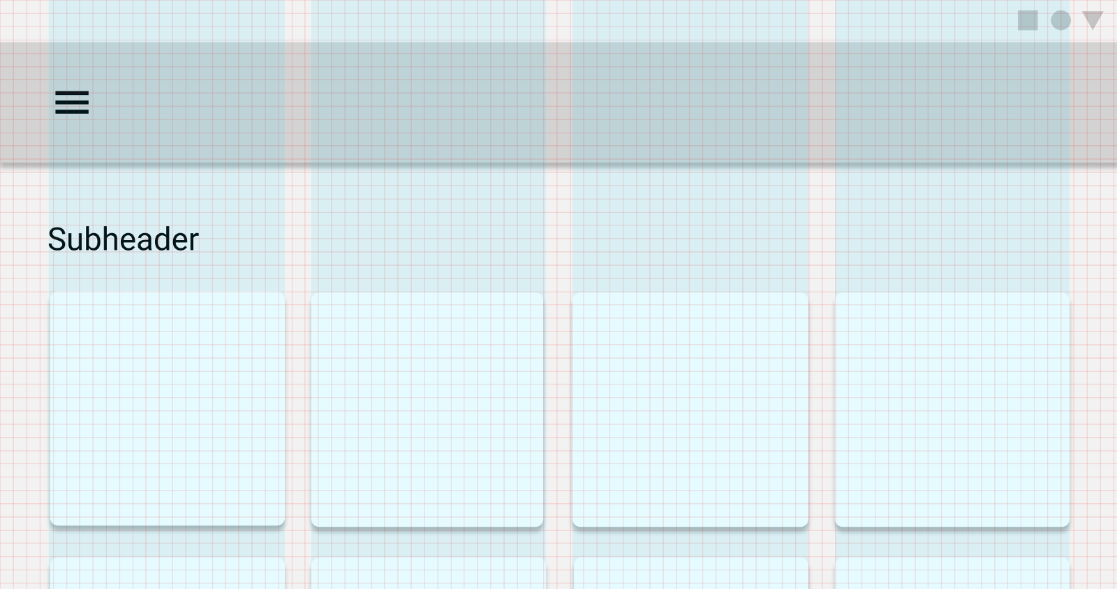 A visual example of vertical layout and grid lines on a four column website