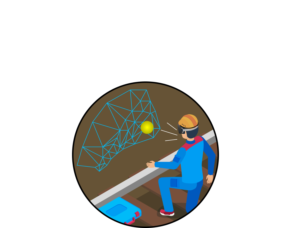Worker underground viewing a 3D image in augmented reality