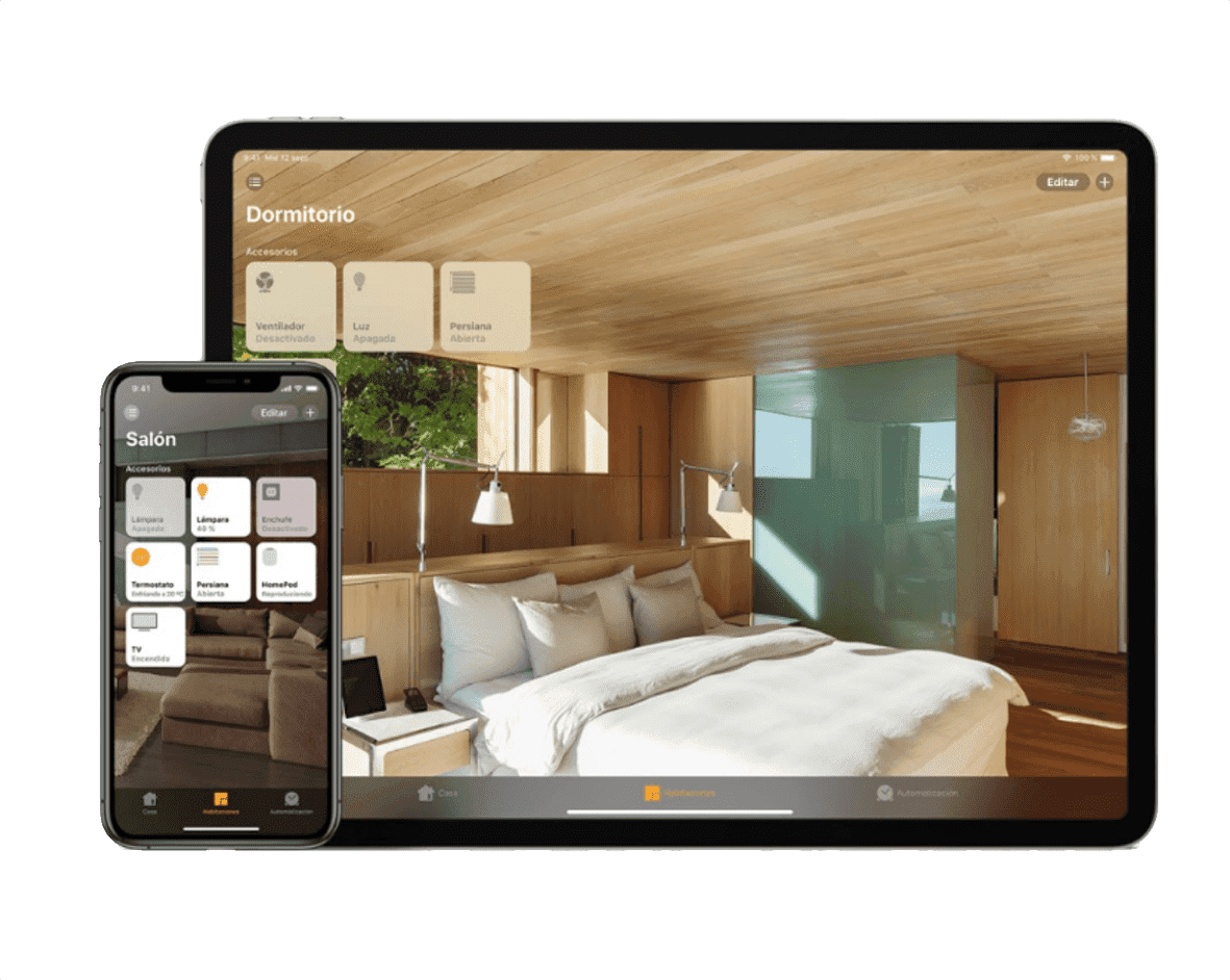 imagen de iphone e ipad, con app apple home kit