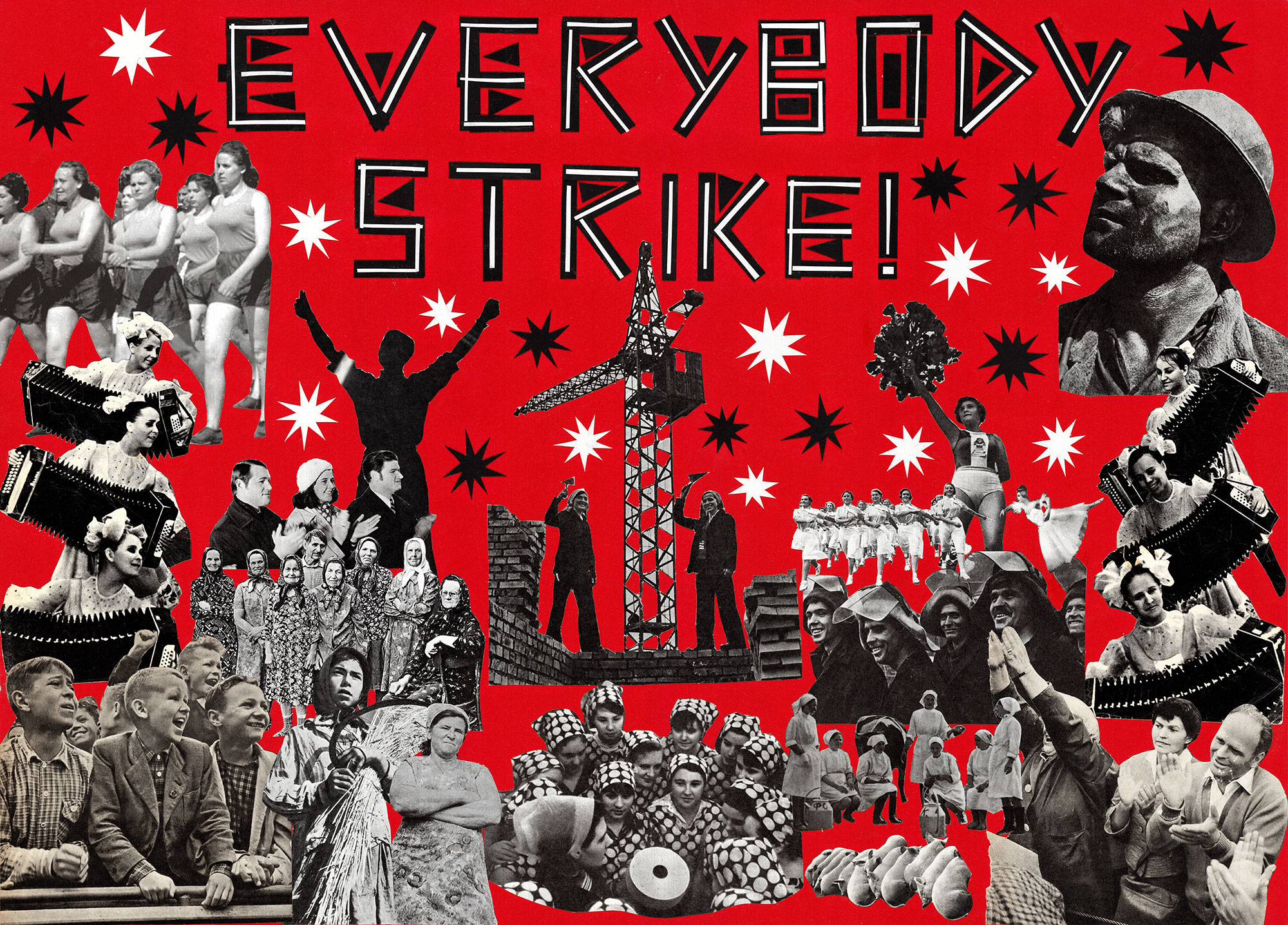 "From the series ""Everybody strike!"", hand-cut collage, 2020"