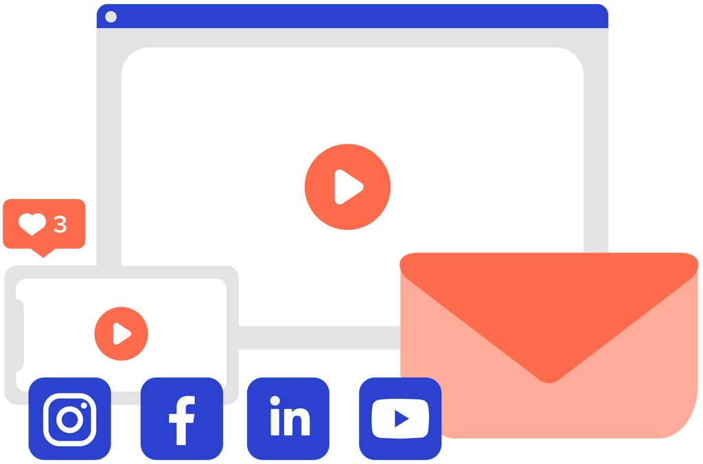 Videos made for social, web, and email