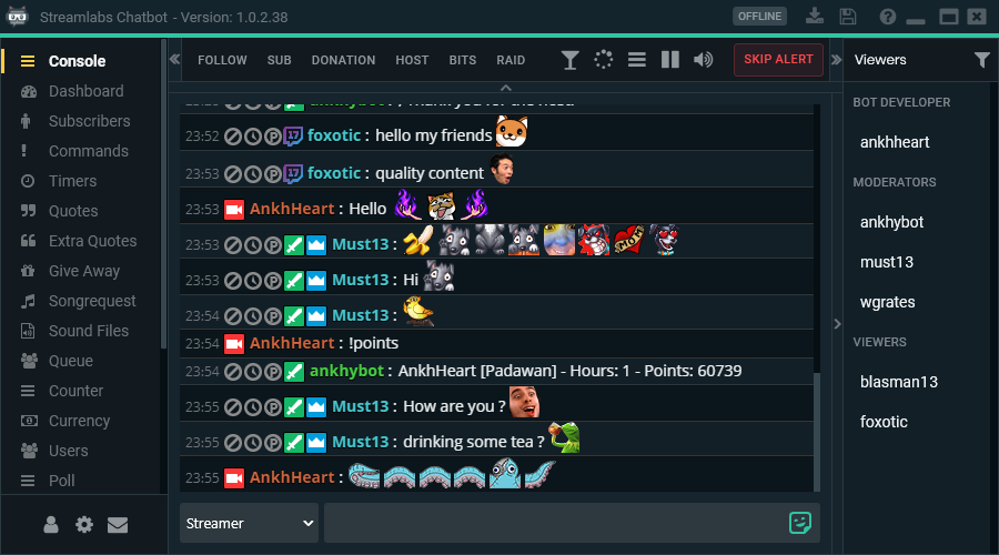 streamlabs chatbot interface