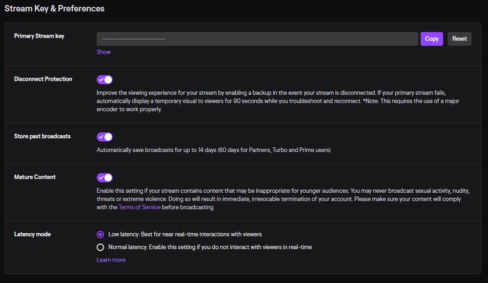 Twitch Delay Settings