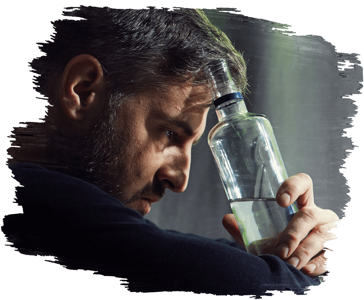This is an image of a man holding a bottle of spirits thinking about his situation