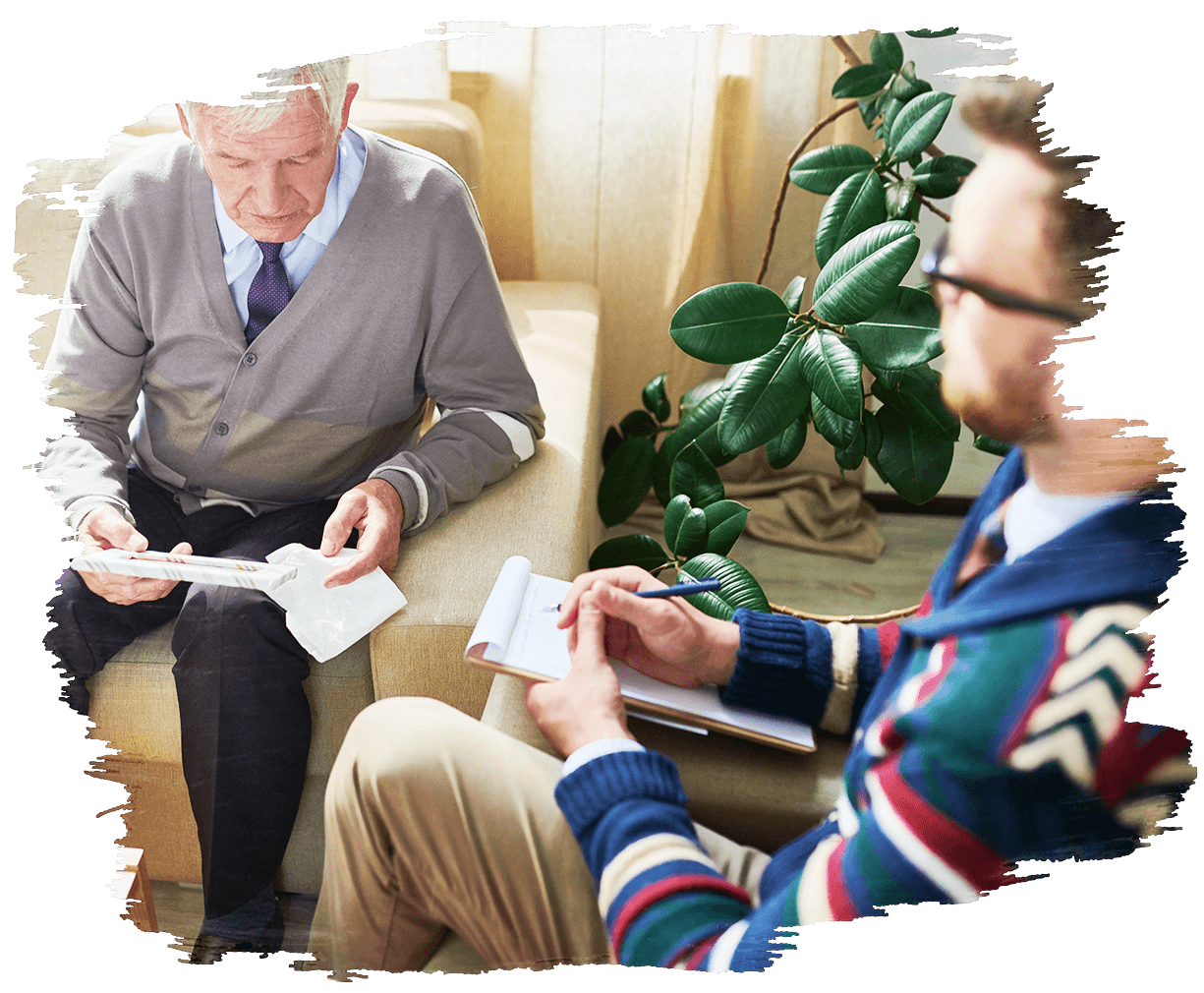 This is an image of a two people in a therapy session. One is of an old man being counselled by a Rapid Action Health therapist