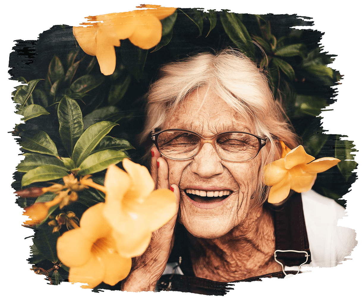 This is an image of a woman smiling with yellow flowers around her face