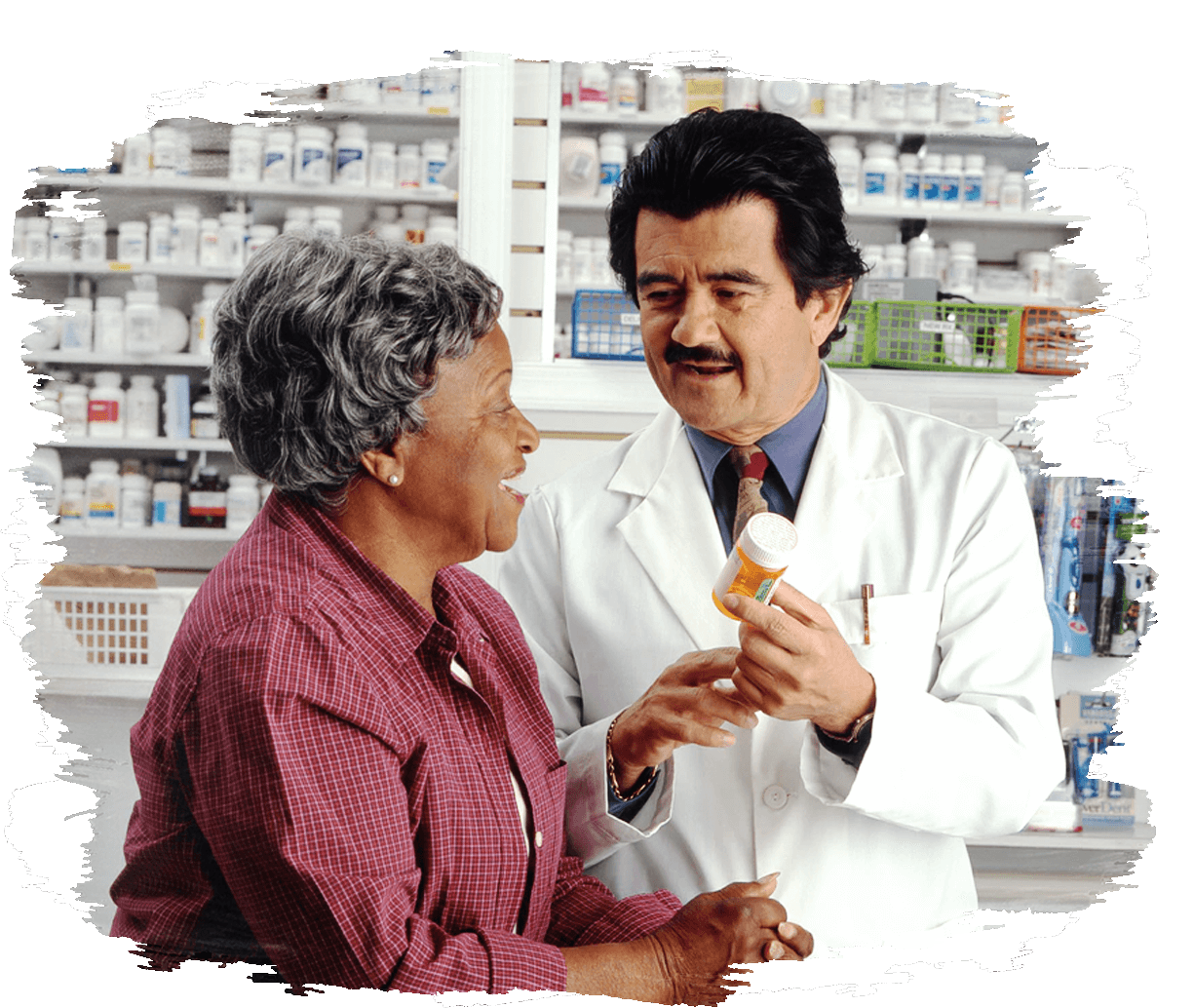 This is an image of a pharmacist advising a woman on her drug prescription