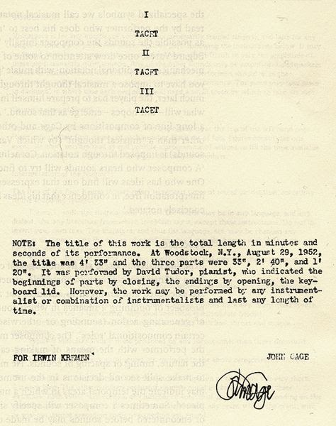 John Cage's original score