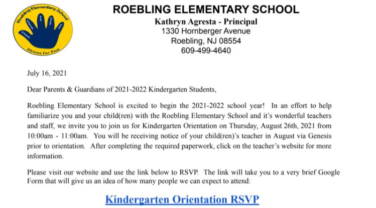 Kindergarten Orientation Letter
