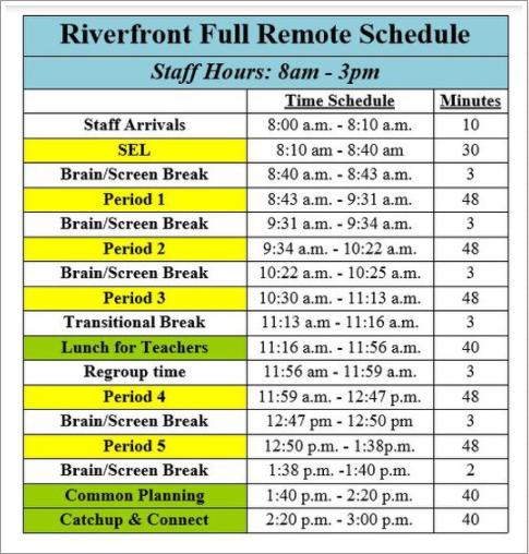 Riverfront Virtual Schedule