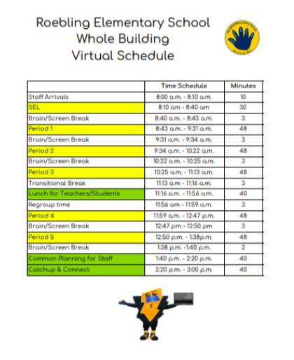 Roebling Virtual Schedule