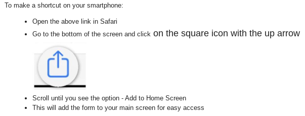Directions for uploading link to your smartphone for Check Check form.