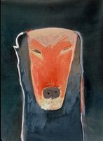 "Dog VIII • Oil on Museum Mounting Board, 40"" x 32"" • 1989"