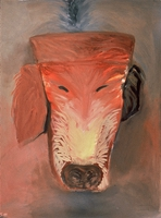"Dog II • Oil on Museum Mounting Board, 40"" x 32"" • 1989"