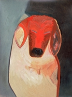 "Dog IX • Oil on Museum Mounting Board, 40"" x 32"" • 1989"