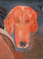 "Dog V • Oil on Museum Mounting Board, 40"" x 32"" • 1989"