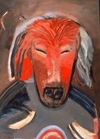 "Dog VI • Oil on Museum Mounting Board, 40"" x 32"" • 1989"