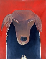 "Dog X • Oil on Museum Mounting Board, 40"" x 32"" • 1989"