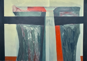 "Red Separating • Acrylic on Canvas, 48"" x 67"" • 1968"